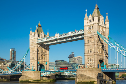Tower bridge of London with blue sky